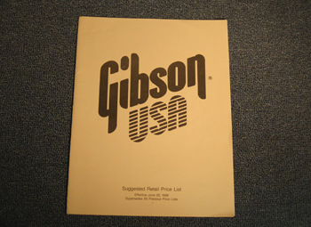 Gibson Suggested Retail Price List - ID: 1746
