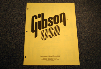 Gibson Suggested Retail Price List - ID: 1744