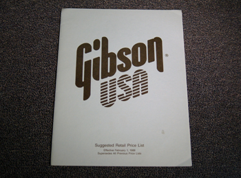 Gibson Suggested Retail Price List - ID: 1745