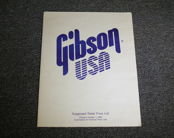 Gibson Suggested Retail Price List - ID: 1747