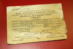 1940's Secret Invite to Entertainers Club  -  Cat No:   -  Click To Order  -  ID: 754